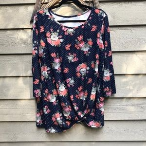 Floral Polka Dot Side Knot Top - 1X